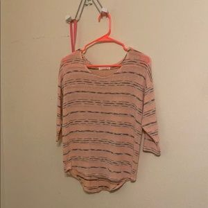 pink && grey stripped mid sleeve top